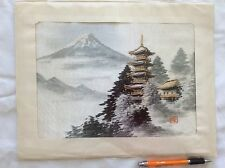 Vintage JAPANESE HAND EMBROIDERED SILK THREAD PICTURES 2 VIEWS OF MT. FUJI JAPAN