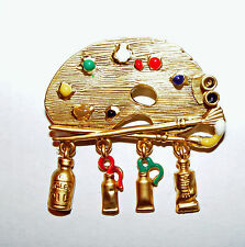 Artist Painters Palette Brooch Pin Danecraft FREE SHIPPING IN USA