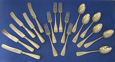"""18 Piece Set German """"Cfh"""" Alpacca Large Serving-Sized Spoons Forks Knives 1960's"""