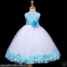 WHITE FLOWER GIRL DRESS PURPLE BLUE WEDDING PAGEANT 12-18M 2 2T 3T 4 4T 5 6 8 10