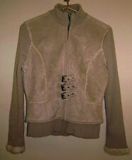 TWIGGY Stylish Fitted Jacket like Suede with Sweater Sleeves & Wool Lining L