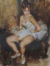BALLET DANCER AT REST Vintage Lithograph 1968 FRIED PAL Hungarian Artist #533