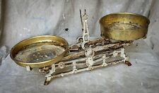 Antique Vintage Balance Scale - Cast Iron with Two Brass Pans Farmhouse decor