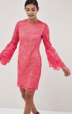 Bnwt🌹Next🌹Size 10 T Coral Pink Lace Flute Sleeve Dress Nude Lining New £55