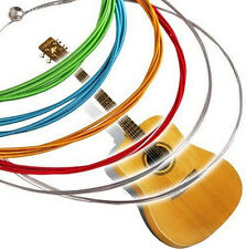 1 SET 6 Rainbow Multi Color Strings Charm Acoustic Guitar Stainless Steel EY