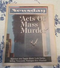 COMPLETE NEWSDAY NEWSPAPER FROM SEPT. 12, 2001. COVERAGE OF THE WTC ATTACK