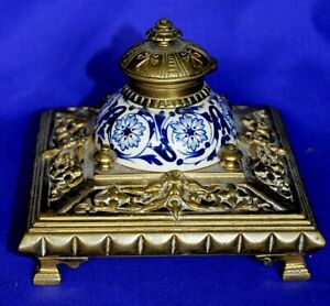 Solid Brass/ Ceramic Square Antique Victorian English Inkwell . RARE.