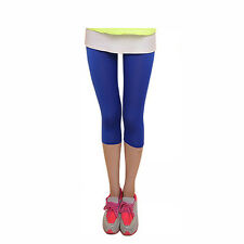 Candy Color Women Summer Cropped Leggings 3/4 Length Yoga Stretch Pant