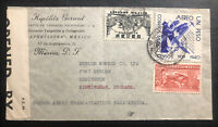 1940s Mexico City Mexico Commercial Censored Airmail Cover To Birmingham England