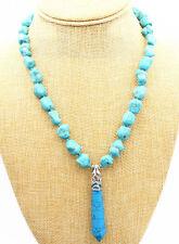 "fashion 10-12MM Baroque turquoise Hexagonal pendant necklace & 18 ""AAA"