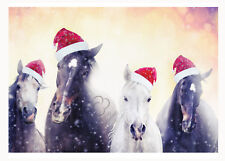 Christmas horses Christmas card. Yes horses with Santa hats