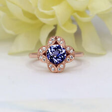 Natural Tanzanite & Diamond Vintage Style Engagement Ring 14K Solid Gold Women's
