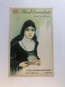 Cartolina Pubblicitaria Brodo Concentrato Suore Latte condensato Lombardo c13