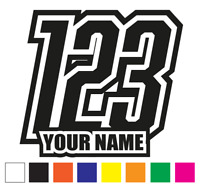 Custom Race Numbers and Name x3 Vinyl Stickers/Decals Motorbike Motorcross Quads