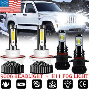 For Jeep Liberty 2008-2012  F2 LED Headlight FogLight 4 Bulb Combo kit 6000K