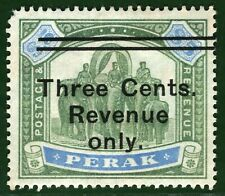 MALAYA Stamp PERAK Elephants *3c REVENUE ONLY*$5 Surcharge c1895 Mint MM YBLUE94