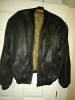 Mens Black Leather Bomber Jacket with  Baseball lining Real Soft Leather Vintage