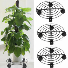 3x Large Heavy Duty Plant Pot Stand Rack Iron Flower Holder with Rolling 4 Wheel