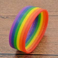 Rainbow Wristband Bangle Lesbian Gay Pride Silicone Cuff LGBT ID Birthday Gift