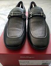 Salvatore Ferragamo Tucker Leather Lizard embossed Loafers 9 E Black Nero Deer