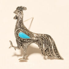 Marcasite Turquoise Hen Chicken Pin Brooch 925 Sterling Silver Fine Jewelry Gift