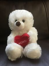 Hallmark White TEDDY BEAR Cub  Red XOXO Love & Kisses Heart Stuffed Animal Plush