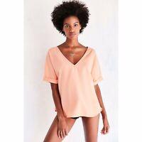 Urban Outfitters Ecote Orange V-Neck Short Sleeve Lane Washed Tee Size XS