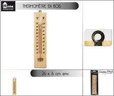 Thermomètre en bois 26 x 6 cm intérieur / extérieur avec crochet mural