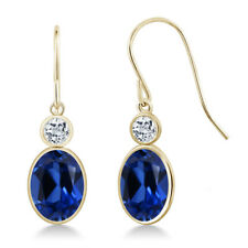 3.56 Ct Oval Blue Simulated Sapphire White Topaz 14K Yellow Gold Earrings