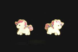 14K Gold Plated Pink Unicorn Screwback Baby Earrings