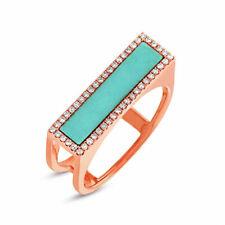 Womens 14K Rose Gold Turquoise Diamond Cocktail Statement Bar Ring 1.12 TCW