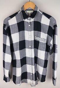 Adidas Neo Label Women Casual Shirt Check Black White Cotton size M UK12