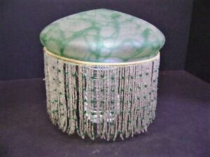 ANTIQUE ART GLASS DOME SHADE WITH LONG GLASS BEADED FRINGE