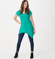 Attitudes by Renee Como Jersey Handkerchief Hem Knit Top - Aqua - XSmall