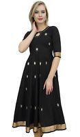 Bimba Designer Black Anarkali Kurta Indian Ethnic Gota Work Cotton Kurti