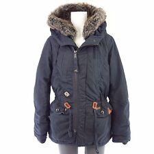 Khujo Jacket Fran Size M 38 Blue Fur Outdoor Hood Parka Cotton NP 179 NEW