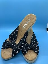 PFR Chicos Womens Open Toe Wedge Espadrille Sandals US 6 Black & White Polka Dot
