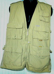 Weekender Traveler Fishing Vest Mens Large Nylon Beige Vented Multi Pocketed L7