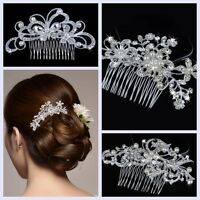 Rhinestone Crystal Flower Pearls Wedding Bridal Tiara Bride Hair Comb Headpiece