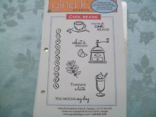 "GINA K - ""COOL BEANS"" SET OF 10  DEEPLY ETCHED RED RUBBER STAMPS"