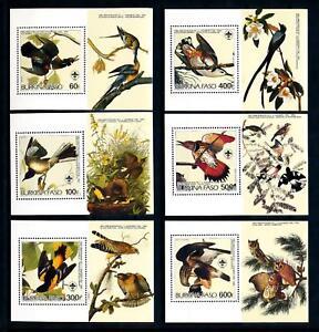 [93809] Burkina Faso 1985 Birds Vögel Audubon 6 Single Sheets MNH