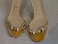 UK6.5 Gina Italian Designer Gold Strap Diamante Kitten Heel Slip-On Sandals 39.5