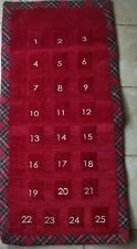 Pottery Barn Kids Red Luxe Velvet Advent Christmas Calendar Plaid #2315