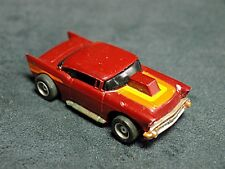 Tyco HO Slot Car 57' Chevy Maroon/Orange/Red Running