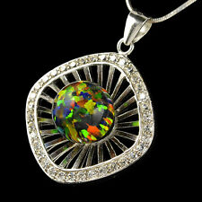 -Cz .925 Silver Pendant,Snake Necklace #9 Alducchi Black Rainbow lab Fire Opal