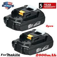 2x18V 2AH Li-ion Replacement Battery for Makita BL1830 BL1815 BL1820 LXT400 Tool