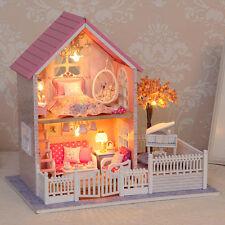 DIY Doll House Miniatura Handmade Wooden Plastic Decor Pink Cherry Blossoms Gift