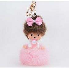 Pink monchichi hot bowknot key chain fashion doll Purse Messenger charm pendant