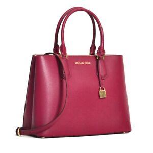 Michael Kors Adele Medium EW Convertible Satchel Refined Pebbled Leather 398 Red