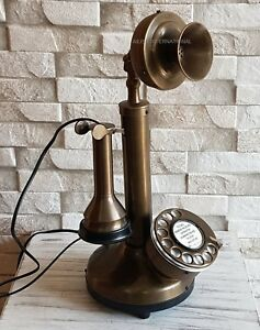 BRASS RETRO CANDLESTICK ANTIQUE TELEPHONE HANDCRAFTED BEST GIFT